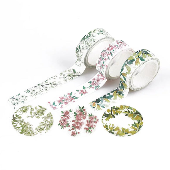 Spring Flower Washi Tapes: Set of 3