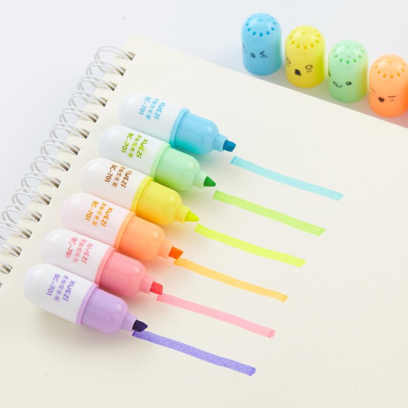 Cute Vitamin Pill Highlighters: Set of 6