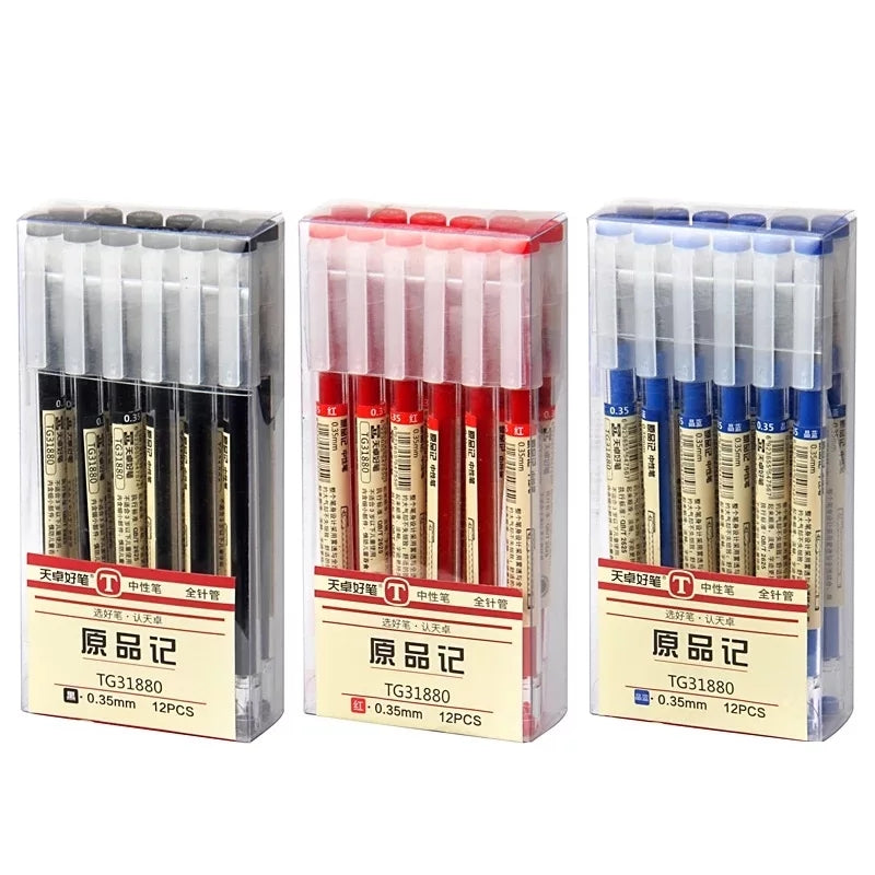 Set of 6 MUJI Style 0.35mm Gel Pens: Blue, black, red ink