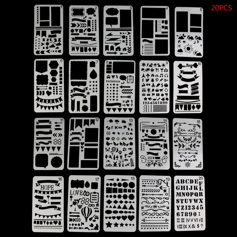 Stencils for Bullet Journaling: Set of 20