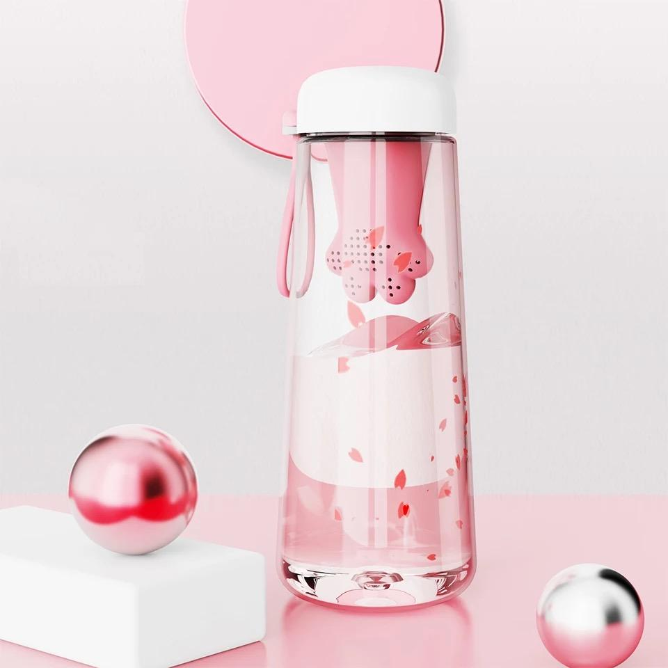 Water Bottle with Cat Paw Tea Infuser