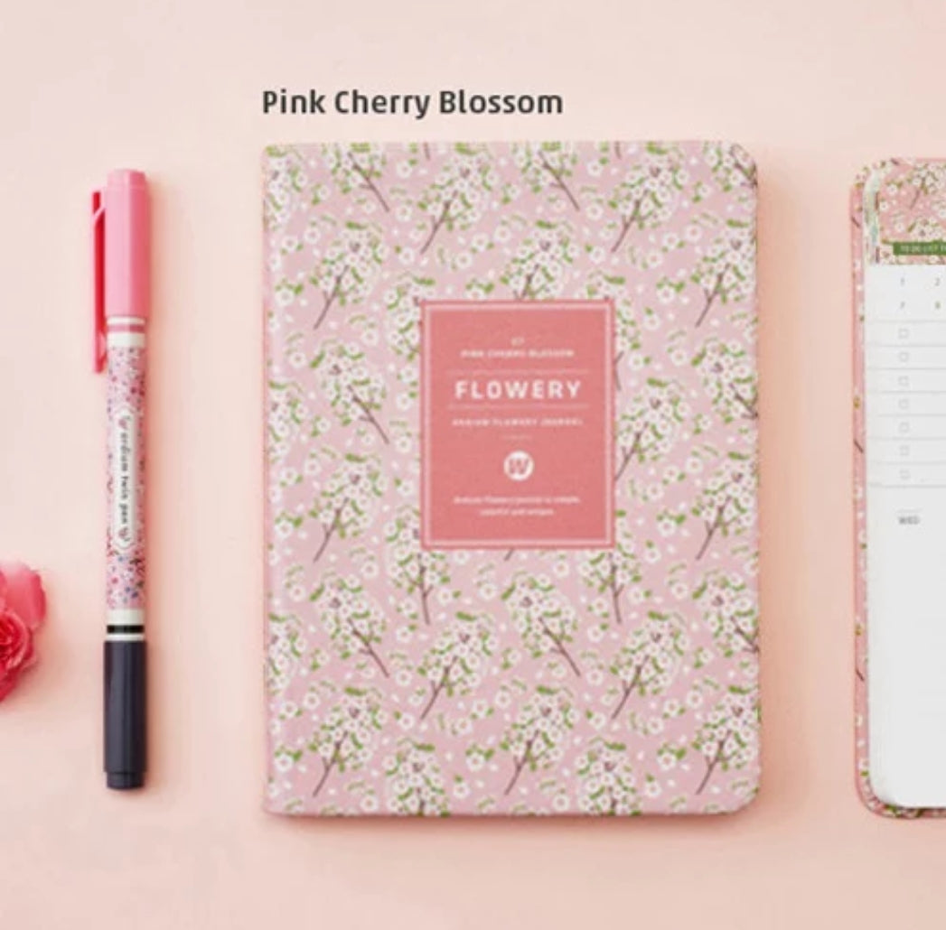 Bright Flowery Leather Planner
