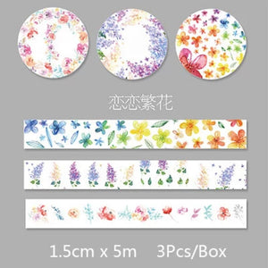 Rainbow Blossoms Washi Tape: Set of 3