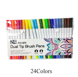 Premium Dual-Tip Brush Pens and Fineliners: Set of 12 till 100 colors