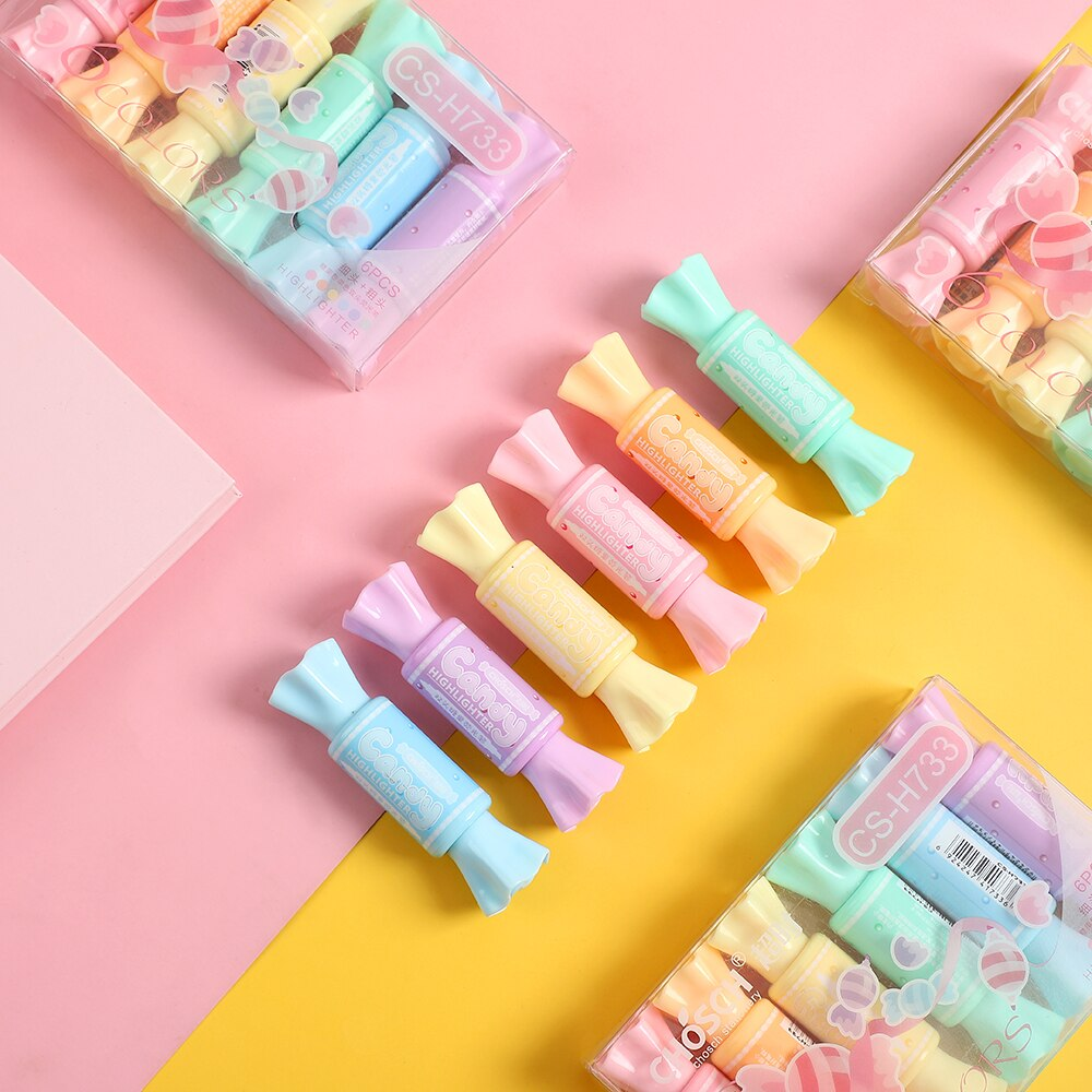 Dual Tip Pastel Candy Highlighters: Set of 6