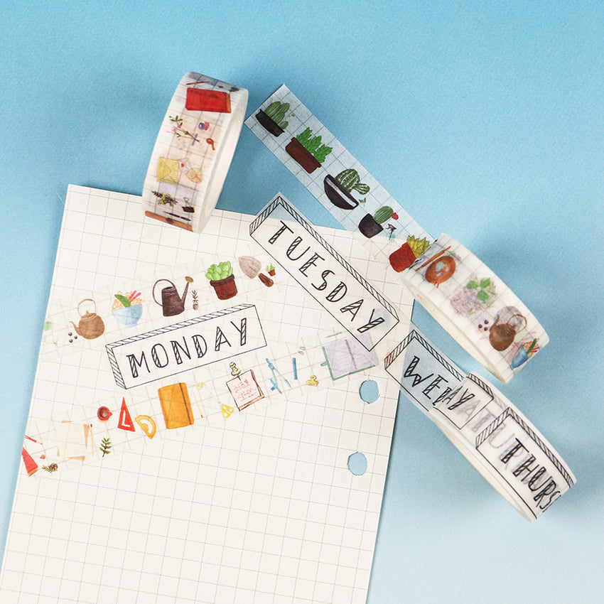 Date, Month & Day Scrapbooking Washi Tapes: available in 3 designs