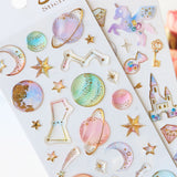 Dreamy Planet & Unicorn Stickers: 4 sheets to collect!