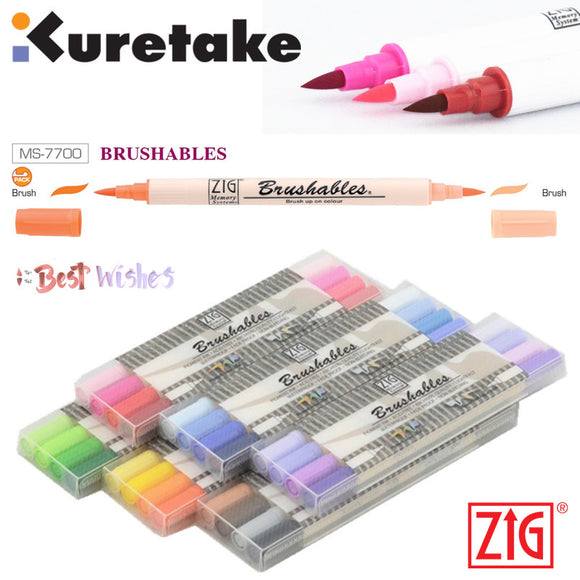 ZIG Kuretake Brushables Marker: Set of 4, 6 and 24 twin tips!