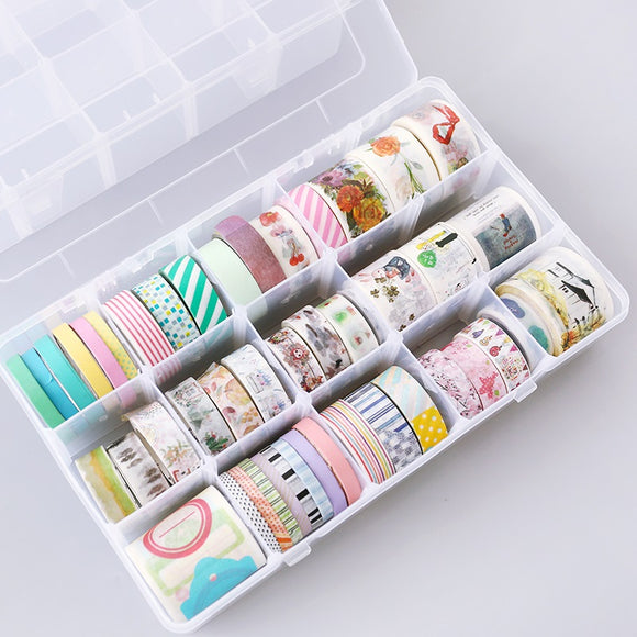 Clear Washi Tape Box: All-in-1 storage and adjustable grid organizer