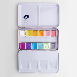 Paul Rubens Metallic Watercolor Palette: Set of 12 or 24