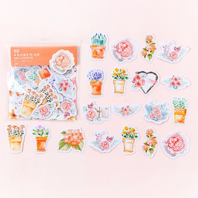 Kawaii Japanese Flower Sticker Set: 45pcs