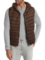 Mens Puffer Vest Quilted Hiking Parka Hood Lightweight Alternative Down Hoodie