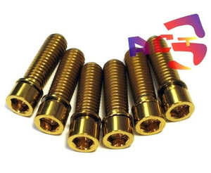 6pcs Gold M8 x 25mm Titanium / Ti Bolt with Ti washer - fit BMX / DH Stem use