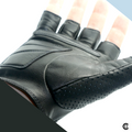 Leather Fingerless Mens Weight Training Cycling Wheelchair Driving Biking Glove