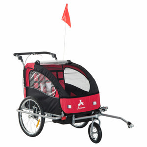 Aosom Elite II Double Baby Bike Trailer Stroller - Child Bicycle Kids Jogger Red
