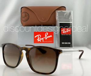 Ray-Ban RB4187 CHRIS Sunglasses Tortoise Rubber Brown Gradient Lenses 856/13 54