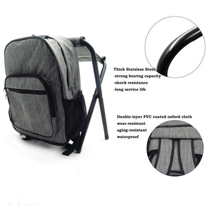 2in1 Outdoor Fishing Tackle Backpack Bag Camping Foldable Stool Seat Chair Kit