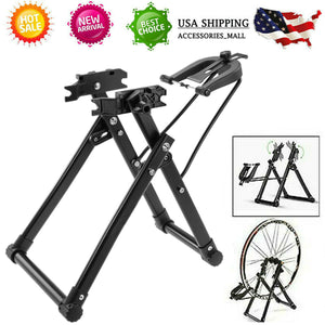 Bicycle Wheel Truing Stand Rack Bike Wheel Maintenance Support Repair Foldable