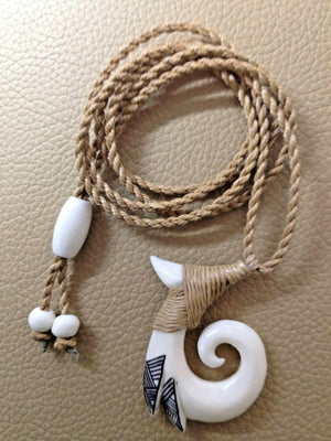 Hawaiian Fishhook (Spiral-Koru)Carved From Buffalo Bone With Adjustable Cord 30""