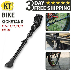 MTB Road Bike Mountain Bicycle Stand Adjustable Metal Bike Side Kickstand Black