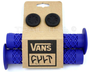 Cult X Vans FLANGED - Blue - BMX Bike Grips w/ End Plugs Waffle Pattern 143mm