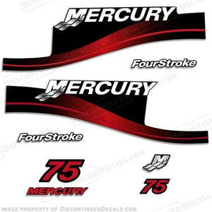 Mercury 75hp FourStroke Outboard Decal Kit Blue or Red Available 1999-2004