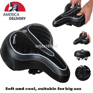 Bike Bicycle Saddle Seat Extra Comfort Soft Pad Wide Big Bum Gel Cushion Sporty