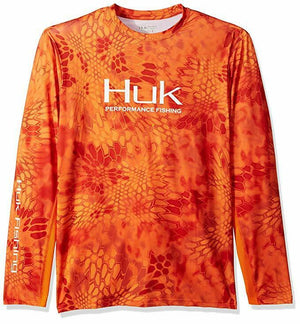 Huk Men's Kryptek Solid Long Sleeve Icon, Kryptek Orange, Small