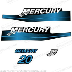 Mercury 20hp 2-Stroke Outboard Decal Kit Blue or Red 20 1999-2006