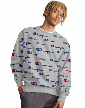 Mens Sweatshirt Champion Life Reverse Weave Crewneck Assorted All Over Logo NWT