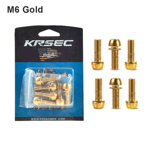 KRSEC 6pcs M5/M6 Screws Titanium Plated Steel MTB/Road Bike Stem Bolts 2 Colors