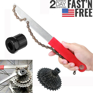 Portable Mountain Bike Bicycle Remover Repair Tool Cassette Freewheel Chain Whip