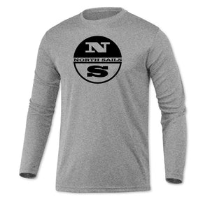North Sails Long Sleeve Microfiber UPF Fishing Sailing Shirt Heather Gray