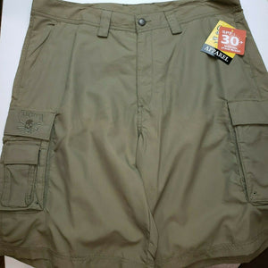 New Authentic Calcutta Men's SPF30+ Cargo Shorts -Olive Green  Sz. 34, 36, 38 40