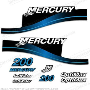 Mercury 200hp Outboard Decal Kit Blue or Red 200 1999-2004 All Models Available