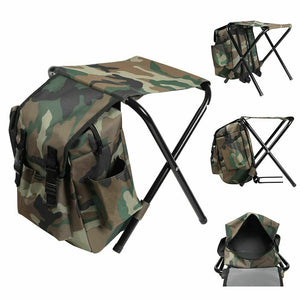 Portable Multi-function Backpack Folding Chair Bag Camping Fishing Stool 220LB
