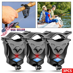 3x Electronic LED Light Fish Bite Sound Alarm Bell Alert Clip On Fishing Rod US