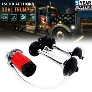 150DB Super Loud 12V Air Horn Dual Trumpet Compressor Kit Train Truck Car Boat