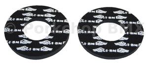 GT race wings old school BMX bicycle grip foam donuts WHITE on BLACK (LICENSED)