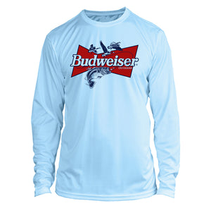Budweiser Bass Fishing Long Sleeve Microfiber Performance UPF 50 TShirt - Arctic
