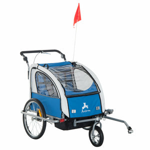 Aosom Elite II Double Baby Bike Trailer Stroller Child Bicycle Kids Jogger Blue