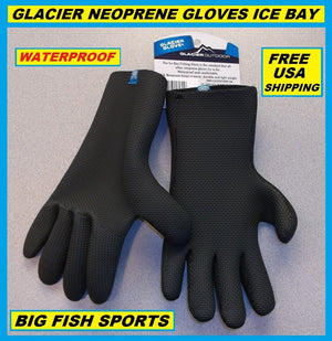 GLACIER GLOVE ICE BAY Neoprene Gloves Size ALL SIZES! #813BK FREE USA SHIPPING