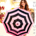1 VICTORIAS SECRET FULL SIZE SIGNATURE PINK OR BLACK STRIPE UMBRELLA YOU CHOOSE!