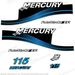 Mercury 115hp FourStroke EFI Outboard Decal Kit Blue or Red Available 1999-2004