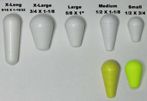 20 Peg Floats Ice Bobbers tough durable Dylite foam 5 sizes Paintable