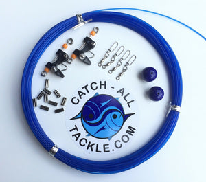 Catch All Tackle Outrigger Rigging Kit - Line,Balls,Clips,Snaps, & Crimps Blue