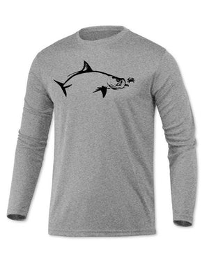 Long Sleeve Microfiber UPF Tarpon Flats Fishing Shirt - Heather Gray