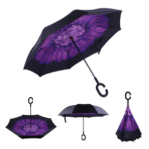 Folding Upside Down Reverse Umbrella C-Handle Double Layer Inside-Out 13Color BT