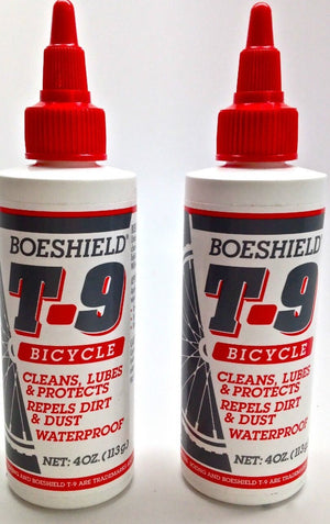 2 PACK BOESHIELD T-9 T.9 BIKE BICYCLE WATERPROOF CHAIN LUBE LUBRICANT 4oz. NEW