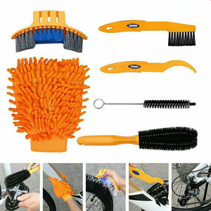 6Pcs Cycling Bike Bicycle Chain Wheel Wash Cleaner Cleaning Brushes Scrubber Kit